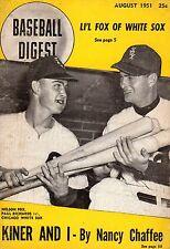 1951 (Aug) Baseball Digest magazine, Nellie Fox, Paul Richards,Chicago White Sox