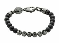 NWT Diesel Black Beaded Bracelet Logo Bracelet DX0950060 with Gift Box