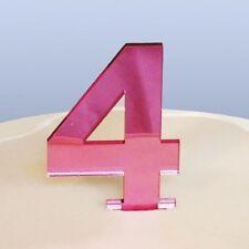 Contemporáneo adorno para tartas Número 4 - Reflectante Rosa