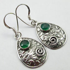 TRIBAL THEME Earrings 3.6 CM ! 925 Pure Silver Facetted GREEN ONYX ROYAL Jewelry