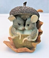 Fitz Floyd Charming Tails Acorn Built For Two Mouse Figurine Fall 85/403 Boxed