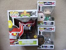 "Funko Pop! 6"" Megazord + Tommy Green and Zack Black unmasked Power Rangers New"