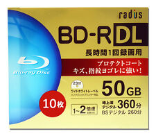 10 Radius Blu-ray Recordable Disc BD-R 50GB Dual Layer 4x Inkjet Printable tdk