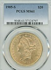 1905 S $20 DOUBLE EAGLE, GRADED MS61 BY PCGS,  GOLD COIN, AGW 0.9675oz