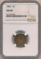 1863 Indian Cent, NGC AU50