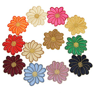 6 pcs Chrysanthemum Flower Embroidered Patches Sewing Fabric DIY Craft Applique