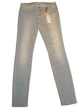 Ladies Women Slim Skinny Jeans Branded Stretch Faded Light Blue Denim Brand New