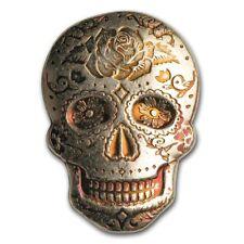 2 oz 999 Fine Silver Bullion MPM Day Of The Dead Sugar Skull - Rose