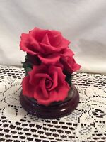 VINTAGE CAPODIMONTE ROSES ITALY HANDCRAFTED WITH WOOD STAND
