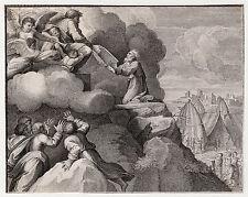 "Strong 1800s RAPHAEL Engraving ""Moses Receiving the Ten Commandments"" FRAMED COA"