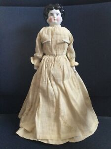 """Antique Bisque Low Brow German China head 16"""" Doll"""