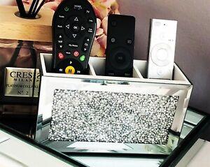 ❣️Diamond Crushed Crystal Mirrored Mirror Beauty Box Remote Control Holder New❣️