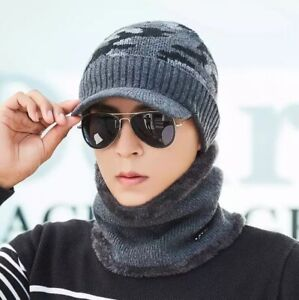 Men's Winter Beanie Hat and Scarf Set Warm Fleece Knitted Thick stylish cap UK