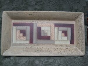 RECTANGLE Plate Tray Donna White Hearthside Collection CABIN QUILT