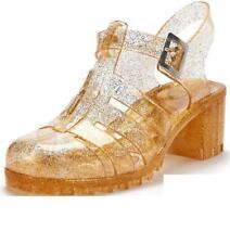 Shoe Box Olga Gold Chunky Heel Fisherman Jelly Sandals Size 8 Brand New UK 8