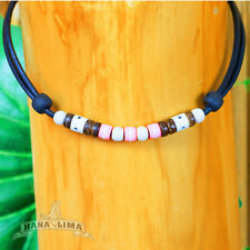 Surfer Necklace Summer Chain Leather Ladies Women Beach Jewelry Pink