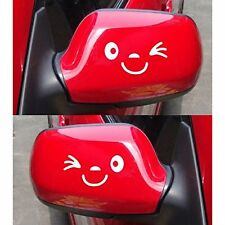 Smile Face Car Wing Door Mirror Stickers Decal Gift Birthday Xmas New Golf White