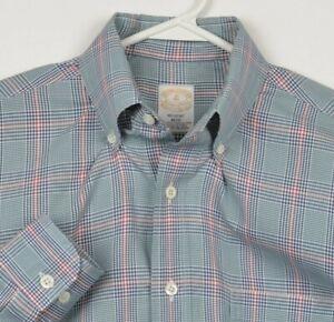 Vintage Brooks Brothers Golden Fleece Men's Medium Regent Green Plaid USA Shirt