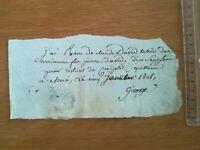 5 janvier 1808 Reçu 17 francs pour restant de compte