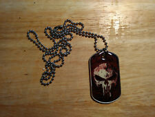 """Tribal Punisher Skull Graphic Dogtag Necklace With 30"""" Aluminum Ball Chain"""