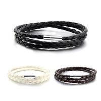 Unisex Leather Weave Bracelet Alloy Button Band Wrist Hand Wrap Chain