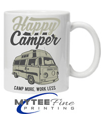 Happy Camper Camp More Work Less Coffee Tea Mug Fathers Day Christmas Gift