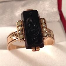 Vintage Men's 14k Rose Gold Onyx Cameo w/ Seed Pearl Accents Ring. Sz10.5 (5.5g)