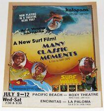 Vintage Original 1978 Gary Capo Movie Many Classic Moments Kalapana Poster Flyer
