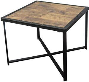 OTTMAR Rectangle Side Table Vintage Metal wood top B0015019