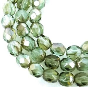 50 Firepolish Czech Glass Faceted Round Beads - Grayish Green Celsian 4mm
