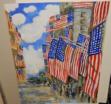 MEI LIN 4TH OF JULY USA STREET SCENE ORIGINAL ACRYLIC ON PAPER PAINTING 1997