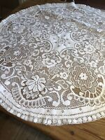 Vintage Circular White Lace Tablecloth 89cm Diameter