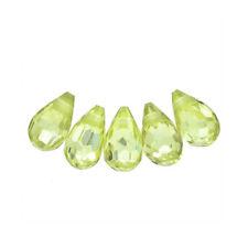 """10 Cubic Zirconia Teardrop Briolette 4x6mm """"Peridot Green"""" #64859"""