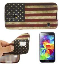 Samsung Galaxy S5 Cover Schutzhülle TPU Silikon Retro Style Amerika USA Fahne