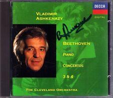 Vladimir Ashkenazy SIGNED Beethoven Piano Concerto 3 4 DECCA cd pianoforte concerti