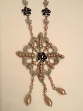 NWT Jessica Simpson Silvertone Love Lace Necklace w/ Simulated Pink Pearls