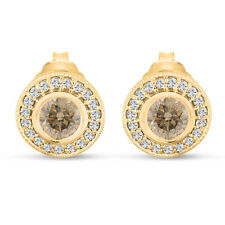 Champagne Diamond Stud Earrings Halo 14K Yellow Gold 0.86ct Bezel And Micro Pave
