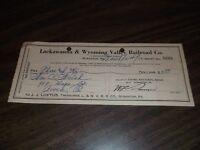 MARCH 1952 LACKAWANNA & WYOMING VALLEY COMPANY TICKET REFUND CHECK #8609