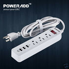 3 USB Port 3-Outlet AC Wall Power Strip Travel Plug Adapter