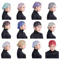Muslim Islamic Hijab Inner Hats Caps Scarf Lace Arab Women Girls Ninja Headscarf