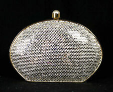 JUDITH LEIBER Clear Crystal Gold Metal Pearl Clasp Minaudiere Evening Bag