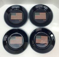 Ralph Lauren BRADFIELD Salad Dessert Plates Set of 4 Cobalt Blue American Flag