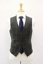 NWOT Tom Ford 100% Wool Charcoal Gray Checkered Waistcoat Vest Size 48R/38R US