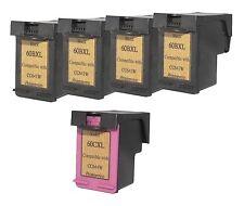 Printenviro HP 60XL 4 Black CC641W & 1 Color CC644W  Reman Ink Cartridges D2560
