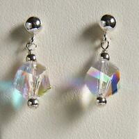 Bridal STERLING SILVER 925 EARRINGS Clear AB HELIX CRYSTAL SWAROVSKI Elements