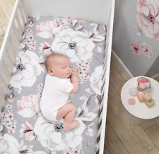 """Crib sheet baby girls fitted pink gray floral standard 52""""x28""""x 8"""" shower gift"""