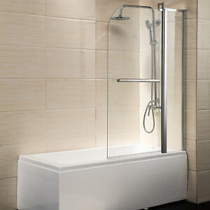 "55""X39"" Pivot Bath Tub Shower Door Panel Framless 1/4"" Clear Glass Chrome Finish"