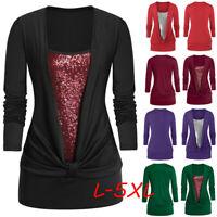 Women's Plus Size Long Sleeve Blouse Glitter Sequins Square Collar T Shirt Tops