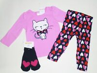 Gymboree Prep Perfect Heart Leggings Kitty Tee Socks  2T NWT