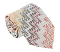 Missoni U4312 Orange/Silver Chevron 100% Silk Tie